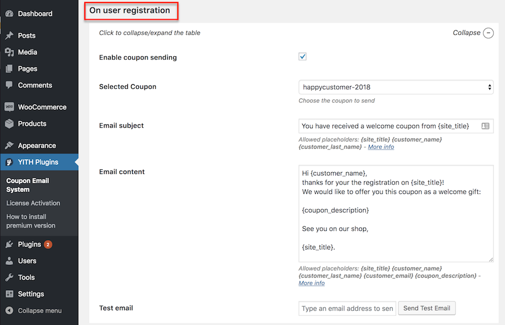 screen new on user registration