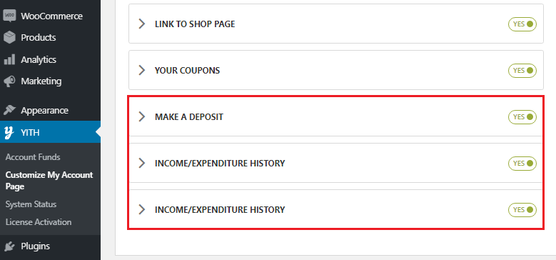 account funds endpoints