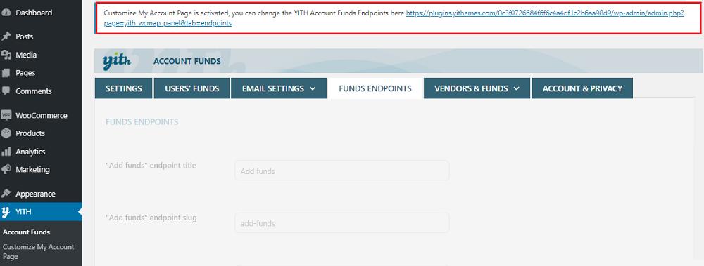 funds endpoints integration