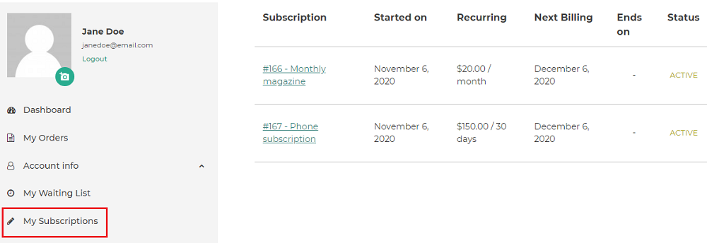 subscription endpoint