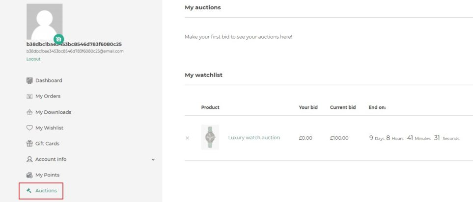 Auctions section in My account page