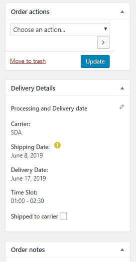 Edit delivery details from order