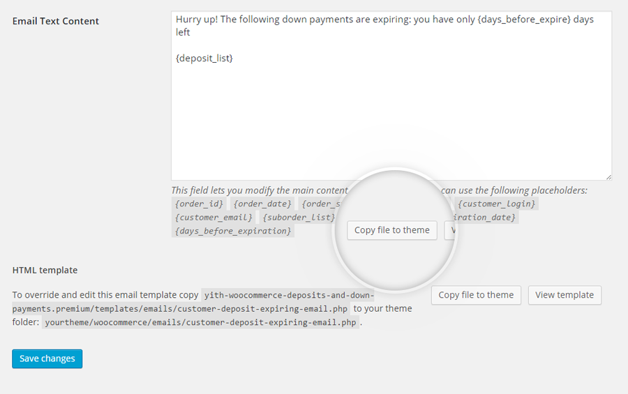 Automatic copy of the email template file