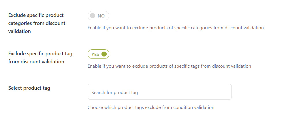 Exclude categories and tags from cart rule validation