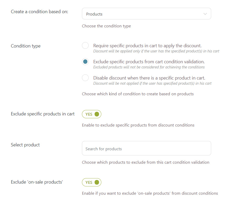 Exclude products from the rule validation