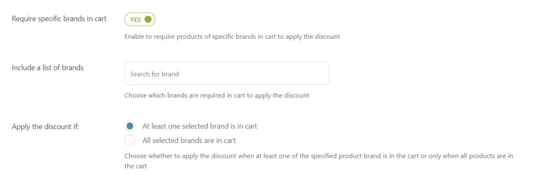 Brands in cart