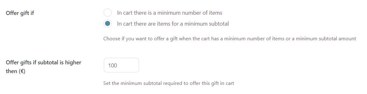 Gift based on subtotal