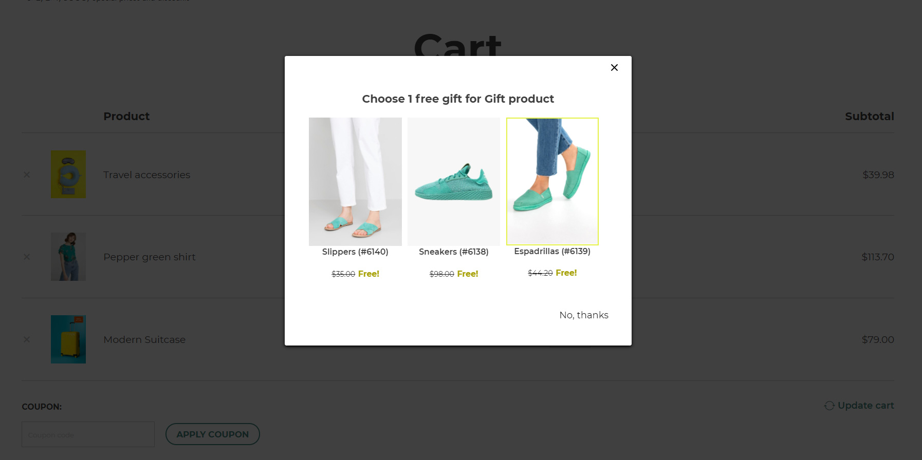 Gift rule product popup