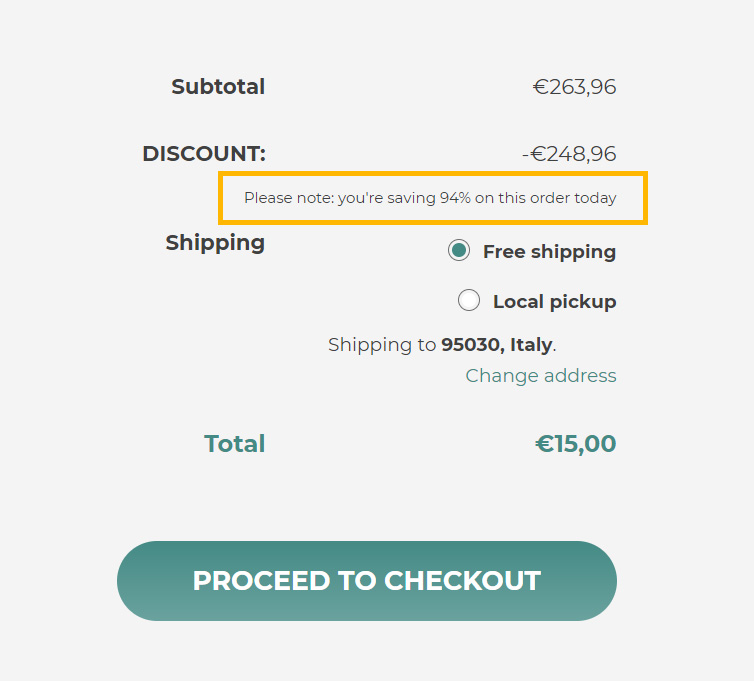 Custom message in cart for cart rules