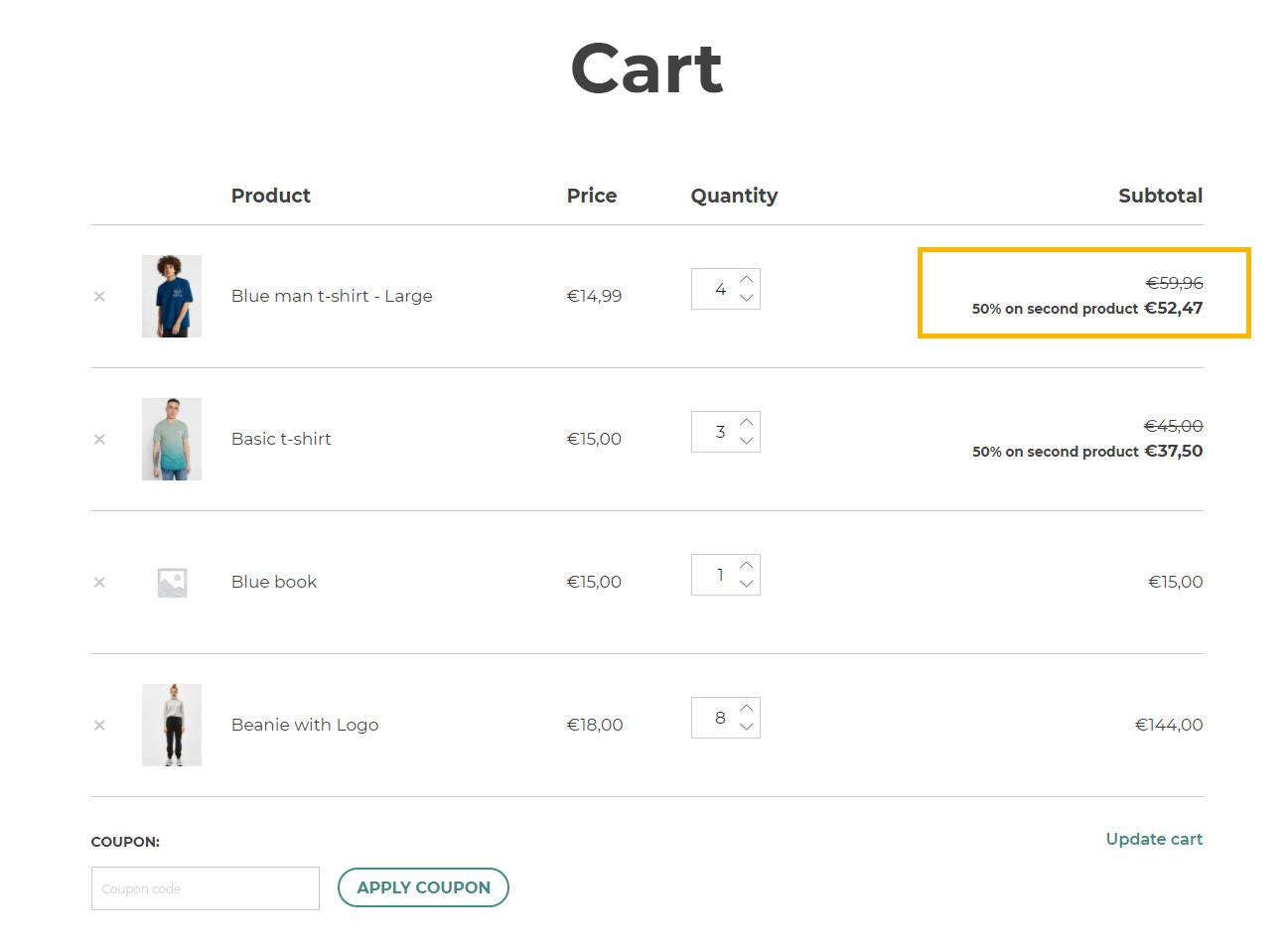 Discount in subtotal