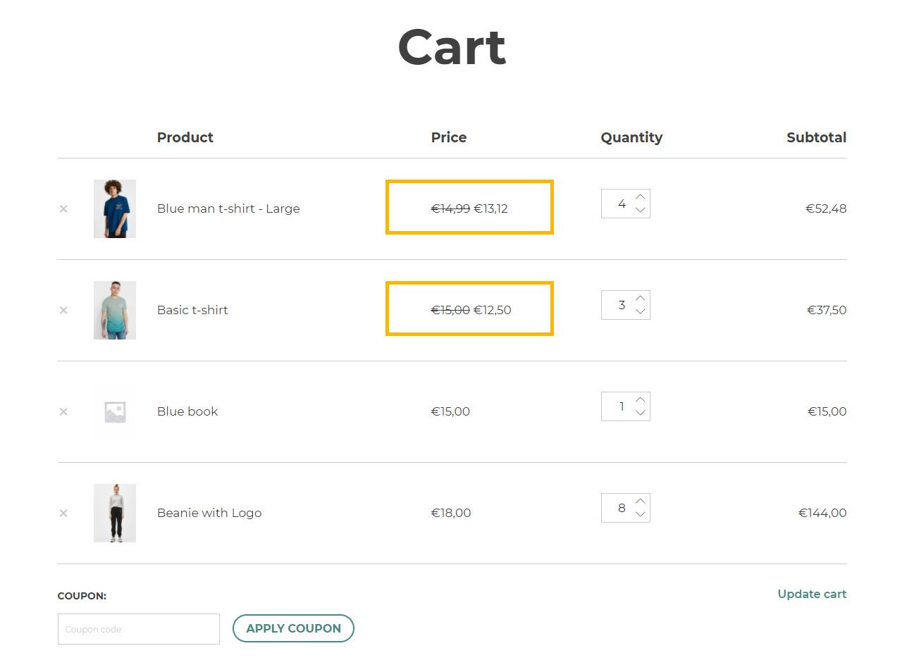 Discount per item line