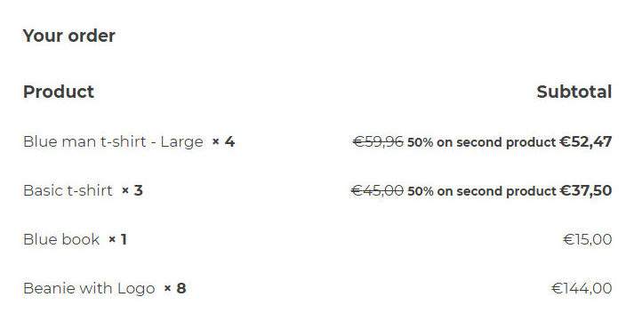 Special offer in subtotal on checkout page