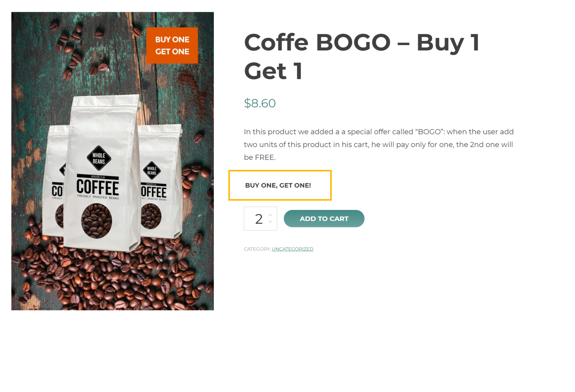 BOGO custom messages on product page