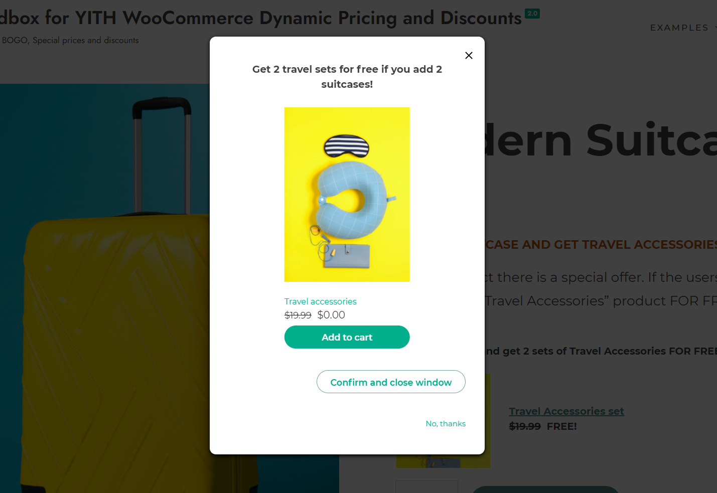 Promote the offer in a modal window