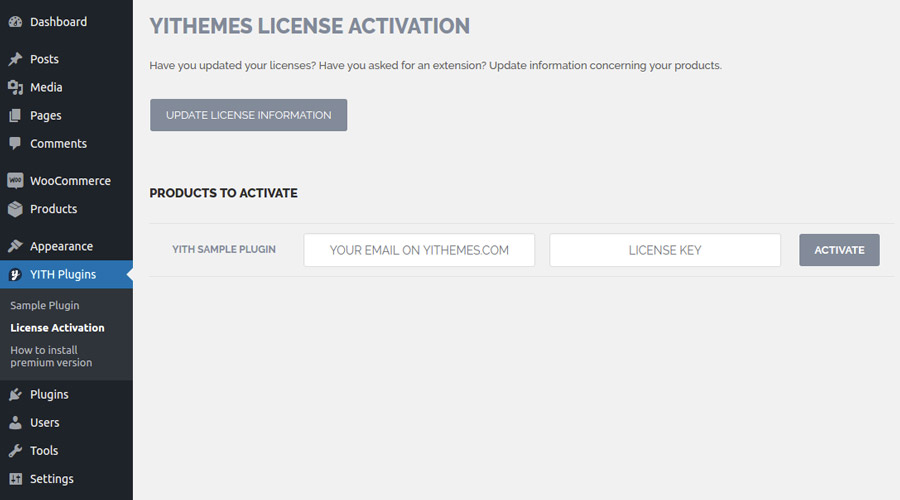 Yith email templates activate license note the license tab will be available only if you have downloaded and installed the premim version of the plugin maxwellsz