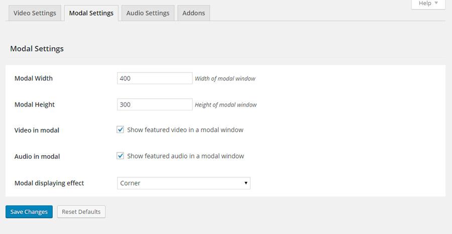 modal settings