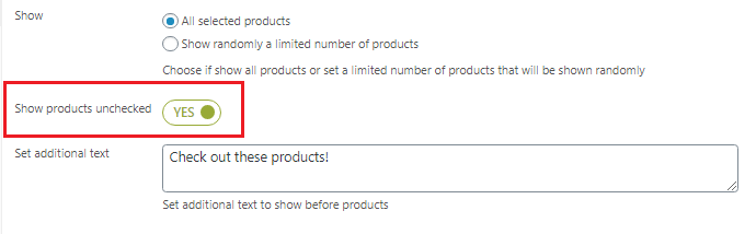 show products unchecked