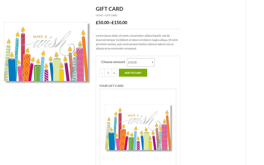 Product image as gift card image