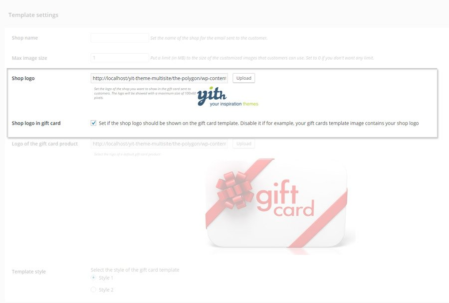 YITH Gift Cards: How to set a logo for git card