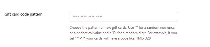 Gift card code pattern