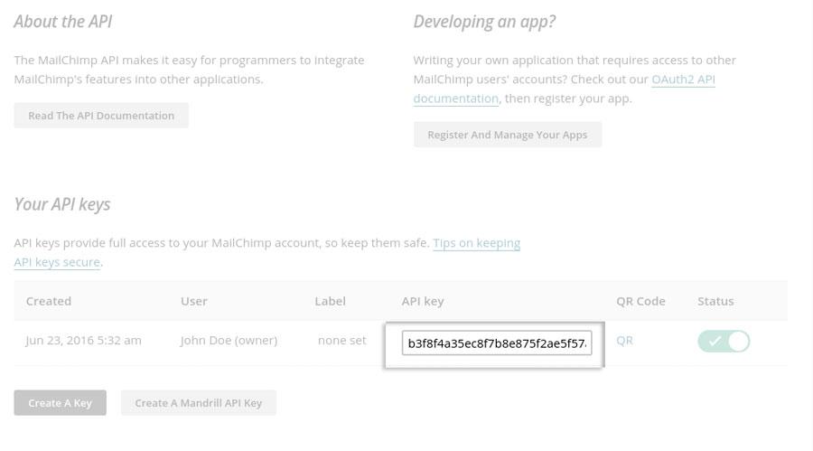 MailChimp API Key - Mailchimp panel