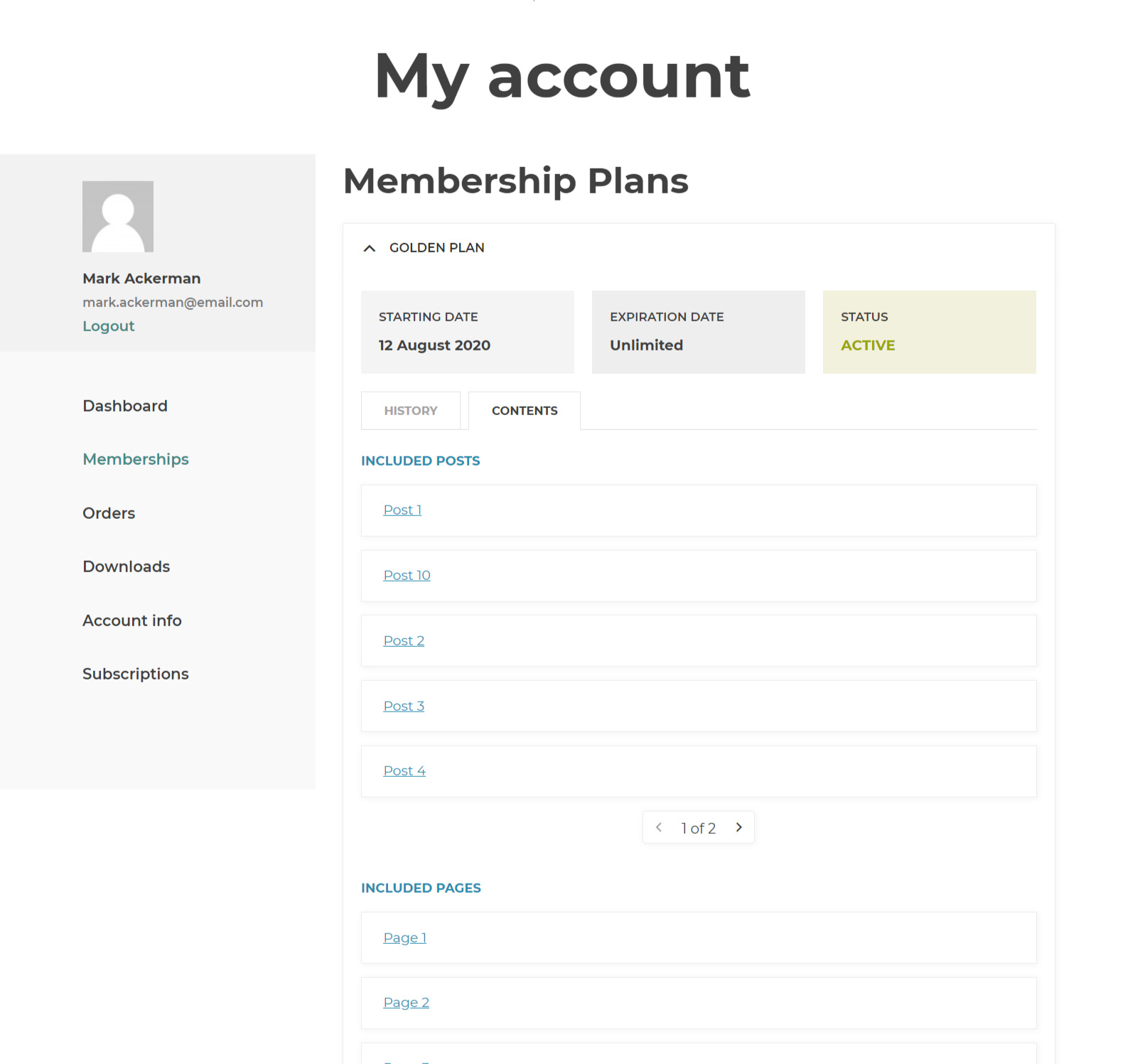 Memberships in My account
