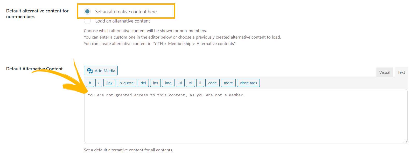 alternative content editor