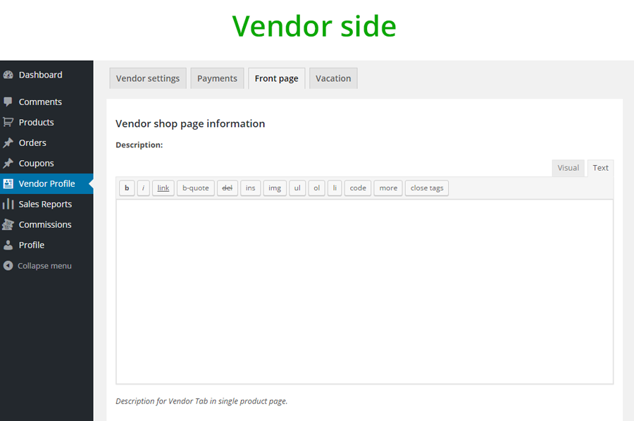 Advanced editor - Vendor side