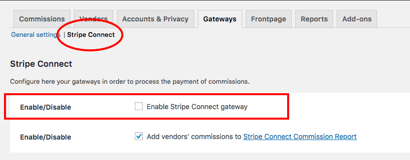 Enable Stripe Connect