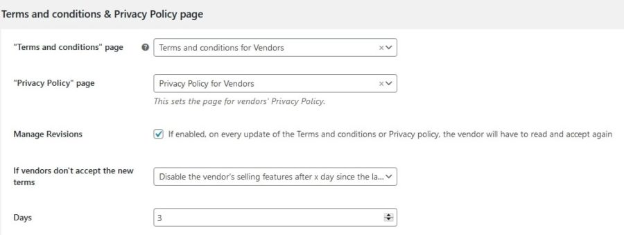 Terms and conditions and Privacy policy settings