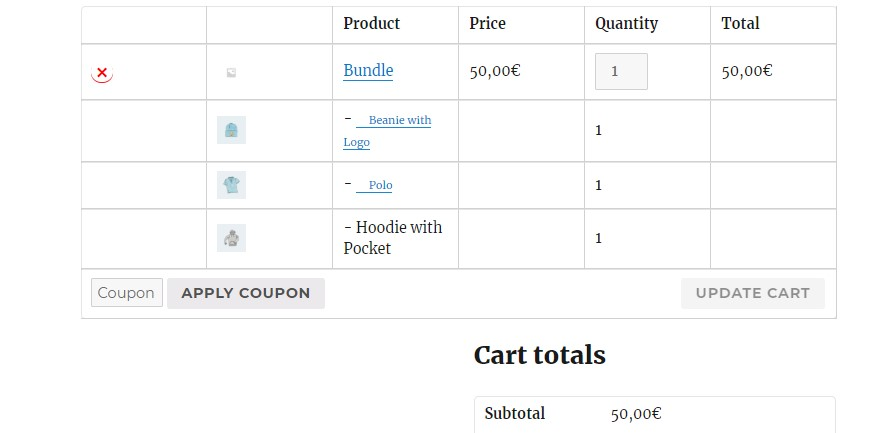 Name your price bundle in cart page