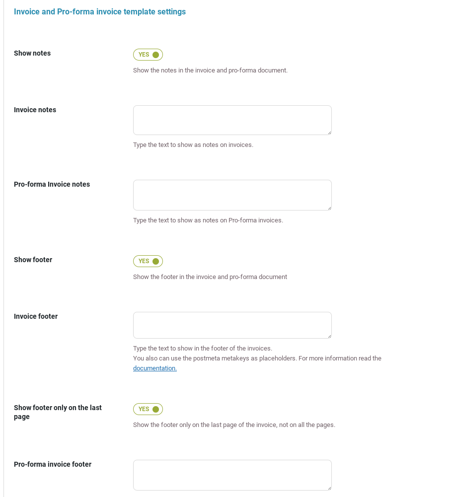 Invoice and pro-forma invoice - template settings