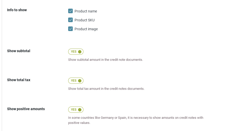 credit note template settings to show