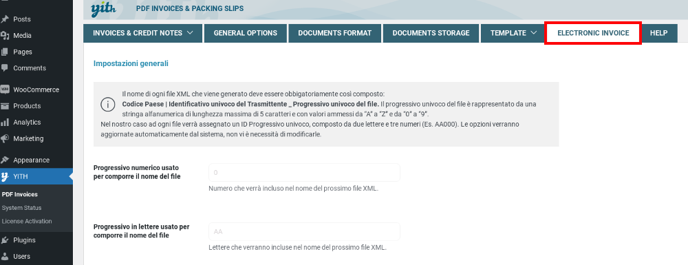 Electronic invoice Italy tab