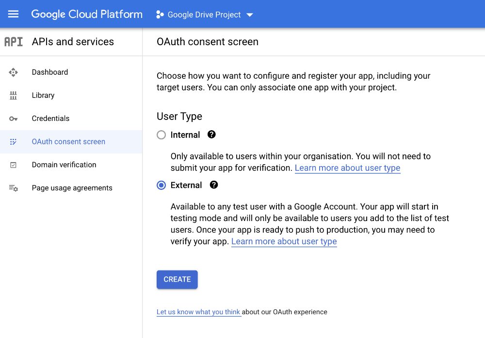 api auth consent screen exteral