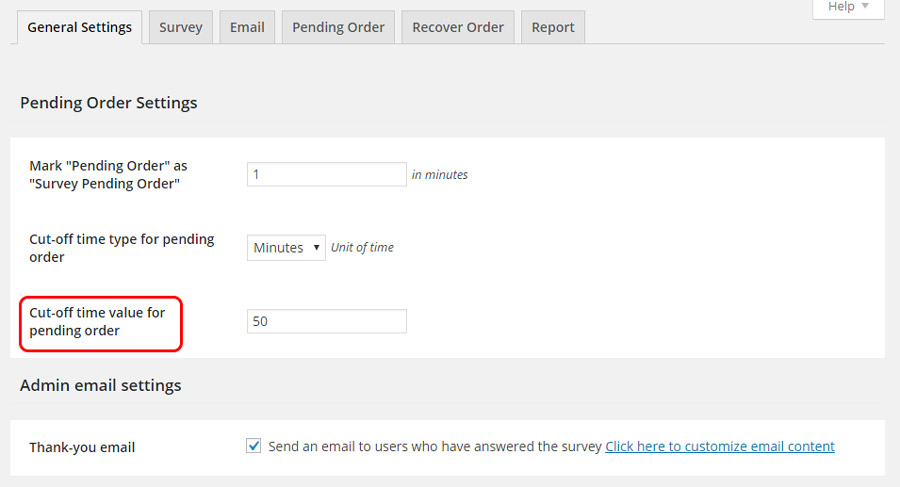 Cut-off time value for pending order