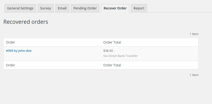 Recover orders