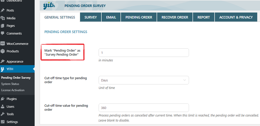 pending order survey