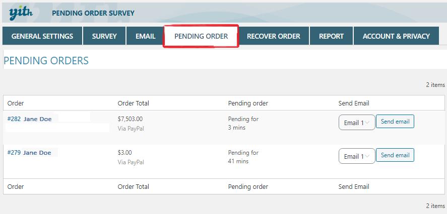 pending order tab