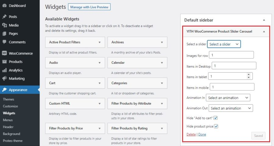 How to add product slider widget to the sidebar
