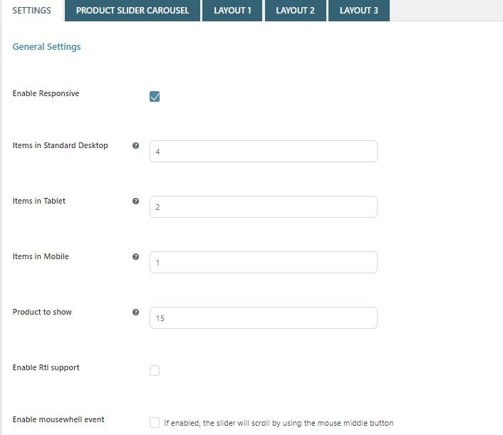 Product slider general settings
