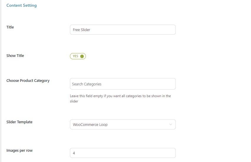 Slider content free settings