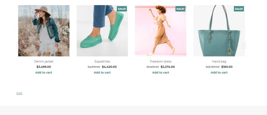 Slider with WooCommerce template