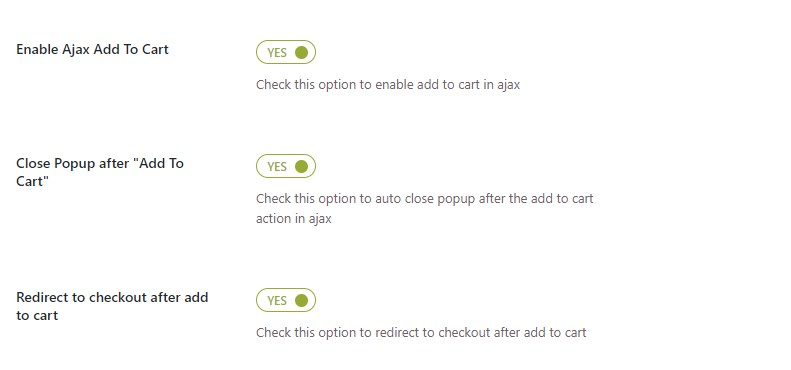 Add to cart options for quick view