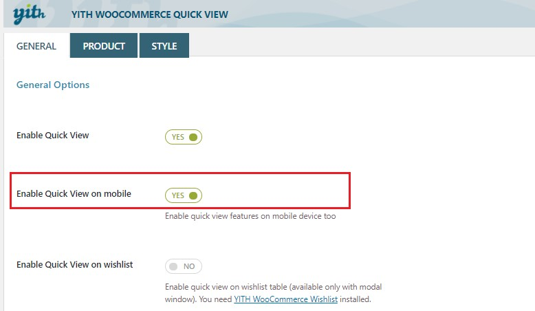How to enable quick view on mobile devices