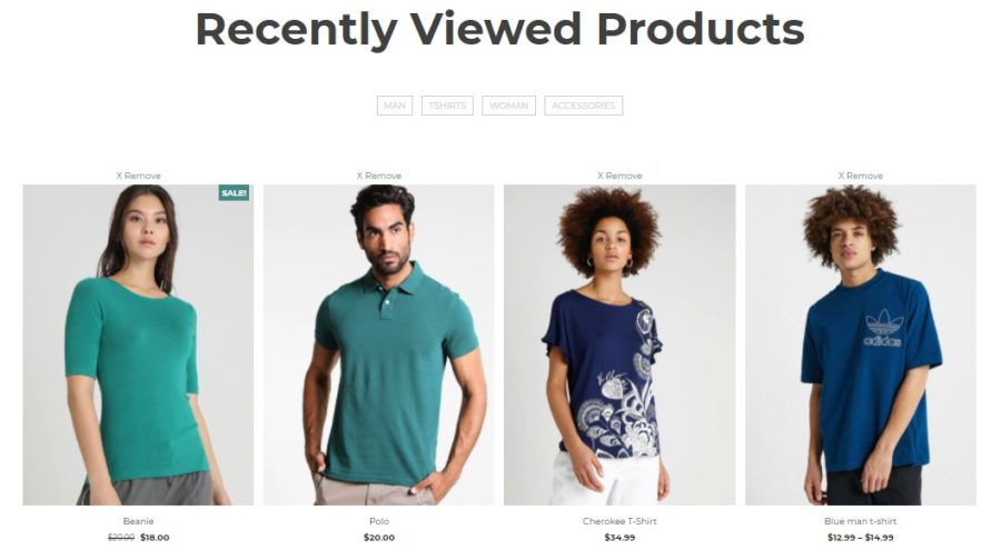 Recently viewed products page