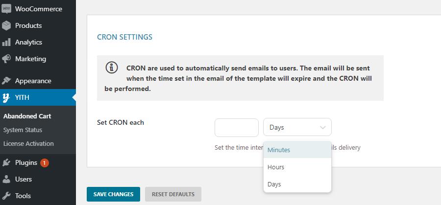 settings - cron settings