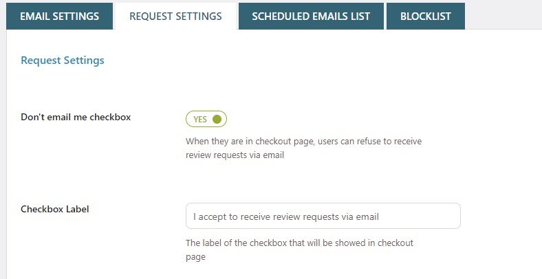 Let customers accept or refuse email sending