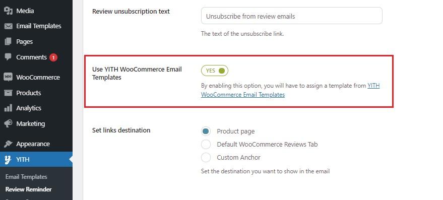 Use YITH WooCommerce Email Templates option