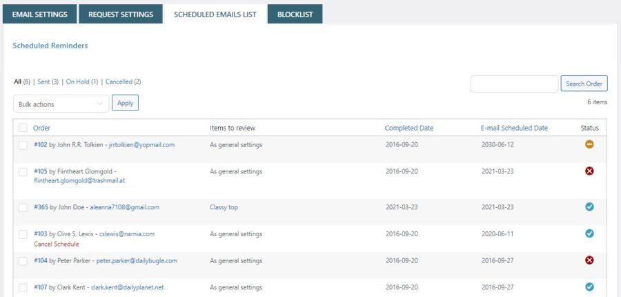 Scheduled emails list
